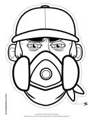 Male Graffiti Artist Mask to Color Printable Mask