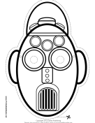 Tall Oval Robot Mask to Color Printable Mask